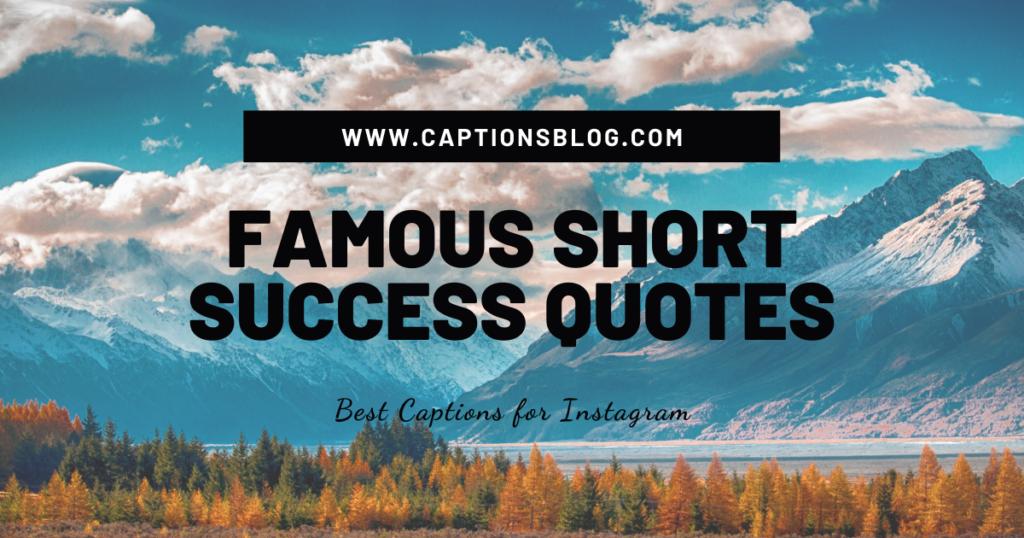 FAMOUS SHORT SUCCESS QUOTES